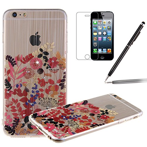 iPhone 6S Case,iPhone 6 Cover, Felfy Apple iPhone 6 / 6S 4.7 inch Rosa weiße Blume Muster Intarsien Shiny Funkeln Diamant Design Ultra Dünne weiche TPU Gel Silikon Transparent Clear Crystal Klar zurüc Baum Blume