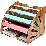 Exerz Wooden Filing Trays, Large Wood Office Desk Stationery Expanding File Organiser Rack Tray Holder Divider for A4 Paper,
