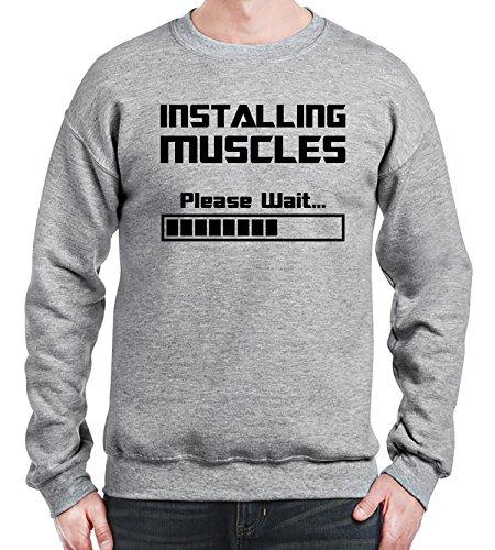 Sweatshirt da uomo con Installing Muscles Please Wait stampa. Large, Grigio