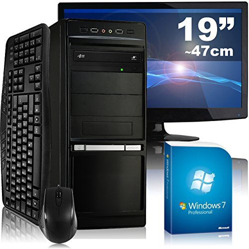 Multimedia-PC tronics24 Optimus a5374L Komplett-Set | AMD A4-5300 2x 3.4GHz | 16GB RAM | AMD HD7480D 2GB | 1000GB HDD | DVD-RW | Gigabit-LAN | 7.1 Sound | Win7Pro | 47cm (19″) TFT | Tastatur | Maus