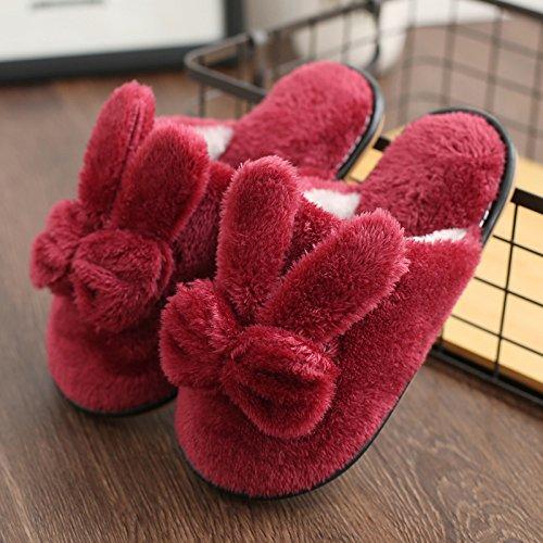 DogHaccd pantofole,La sig.ra cotone pantofole inverno piscina pavimento antiscivolo scarpe spesso soggiorno nella bella stagione invernale pantofole di peluche Il vino è di colore rosso4