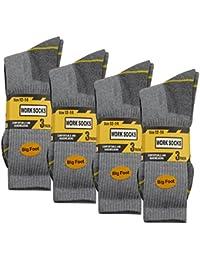 WORK Socks Homme Size 12-14 Chaussettes Épaisses (12 Pair Paquet multiple) Résistant Renforcée Talon Pour Chaussures Embout Coqué Acier