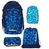 Satch MATCH by Ergobag Blue Crush 4-tlg. Set Schulrucksack + Sportbeutel + Schlamperbox inkl. Geodreieck + Regenhaube Blau - Wächst mit bis 180cm Körpergröße!