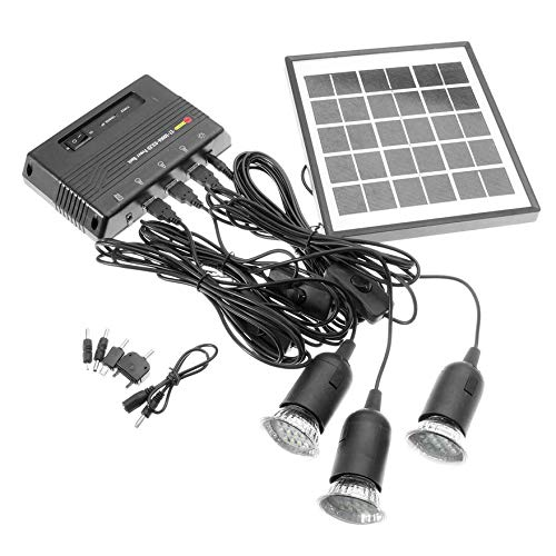 Bigherdez 4W 6V Outdoor Solar Power Panel LED Licht Lampe Ladegerät Hausgarten System Kit - Schwarz -