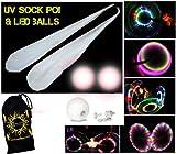 UV-Socke Poi Set + 2x LED Glow Jonglierbälle (weiß) + Reisetasche, inklusive Batterien.