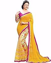 Khodiyar Creation Women's Chiffon Saree (S-260_Yellow And Pink)