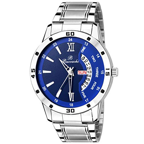 Buccachi Mens Analog Wrist Watches with Blue Dial Day & Date | Water Resistant Watches | Men's & Boy's Stainless Steel Watches (B-G5046-BL-CH)