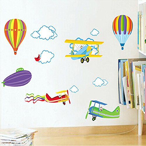 Cartoon Wall Stickers For Kids Baby Rooms Decor Removable Vinyl Nursery Children Room Wall Decals Airplane And Hot Air Balloons