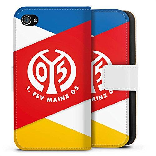 Apple iPhone SE Silikon Hülle Case Schutzhülle 1. FSV Mainz 05 e.V. Bundesliga Fanartikel Sideflip Tasche weiß