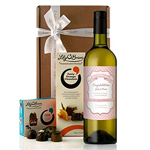 Personalised Wine and Chocolates Gift New Parent Gift: Wine Label Reads