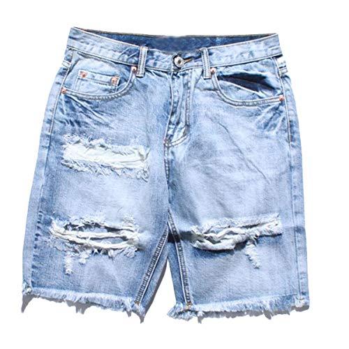 Herren Jeans Shorts Denim Destroyed Männer Nner Shorts Sommer Mode Marken Zerrissene Loch Jean Hip Hop Shorts Männer Nner Skateboard Mann Aktive Kurze Jeans (Color : Sky Blue, Size : XL) -