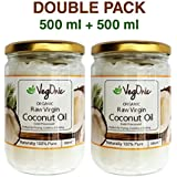 Vegonic Organic Raw Virgin Coconut Oil for Hair, Skin, Cooking, Health & Beauty - 500ml (Double Pack)