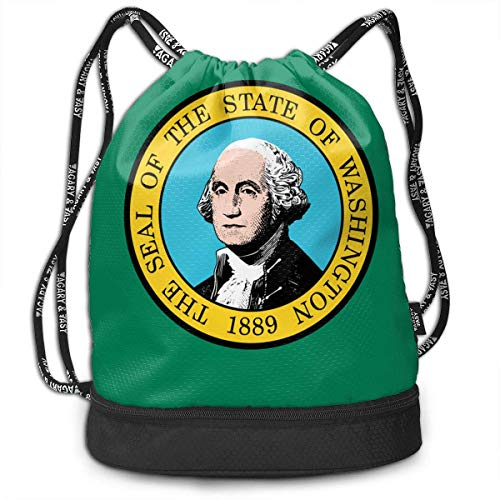 Kordelzug Taschen Sporttasche Washington State Flag Novelty Drawstring Bags Bundle Backpack School String Rucksack Cinch Bag Lightweight Hiking Shoulder Bag Unisex Gym Sports Yoga Climbing for Women -