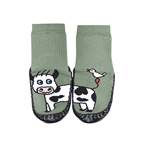 Hüttenschuh-Söckchen,,Lustige Tiere''mit Echtem ledersohle Anti-Rutschsohle,für jungen und Mädchen CH-139Ch-139 (22-23, grün kuh) (Echte Schuhe Jungen)