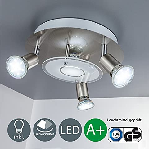 b.k. lumière plafonnier LED avec 4x 3W GU10Ampoules moderne ronde Plafonnier 4Lumières Ajustable réglable spot 3