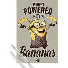 Póster + Soporte: Gru, Mi Villano Favorito Póster (91x61 cm) Minions, Powered By Bananas Y 1 Lote De 2 Varillas Transparentes 1art1®
