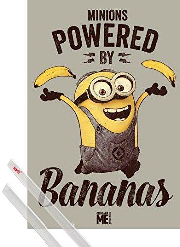 Poster + Sospensione : Cattivissimo Me Poster Stampa (91x61 cm) Minions, Powered By Bananas E Coppia Di Barre Porta Poster Trasparente 1art1®