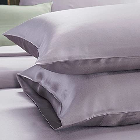 Silky Satin Pillowcases Queen Standard For Facial Beauty Hair Health Face Care Hypoallergenic Set Of 2 (pair)(Silver)