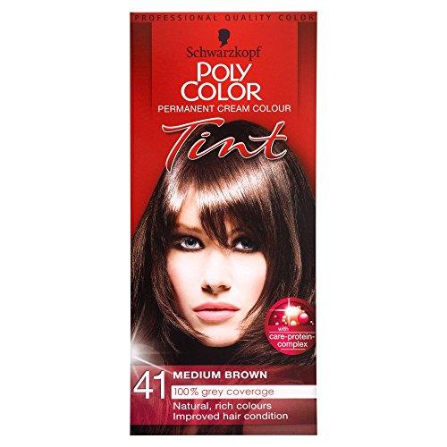 Schwarzkopf Poly Color Cremefarbe 41 mittelbraun (1 Stück) Dauerhafte Haar-net