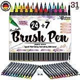 Woohoo4u Brush Pen Set Pinselstifte | 31 Set | Wasservermalbare Bunt-Stifte Für Kinder Und Erwachsene Als Aquarellstifte, Handlettering Brush Pens, Bullet Journal Zubehör, Calligraphie Stifte