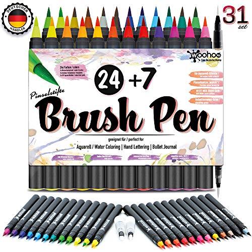 Woohoo4u® Brush Pen Set Pinselstifte | 31 Set | Wasservermalbare Bunt-Stifte Für Kinder Und Erwachsene Als Aquarellstifte, Handlettering Brush Pens, Bullet Journal Zubehör, Calligraphie Stifte
