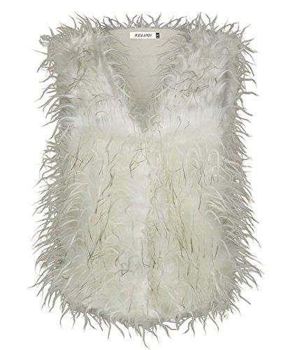 femmes FAUSSE FOURRURE PLUME Gilet femmes gilet veste fashion veste Crème