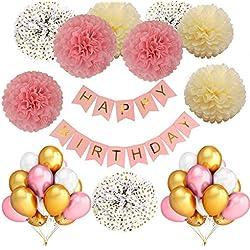Décoration D'anniversaire Rose Blanche Or pour Filles:36 Ballons Gonflables Naturels Gonflés à l'hélium& Pompons en Papier de Soie (or rose blanc ivoire) pour 1.5.10.16.18e année Amie de Fête Décor