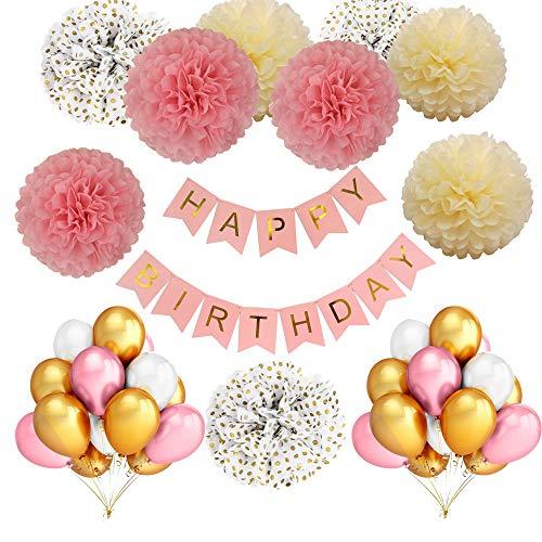 Decorazioni di compleanno set in bianco e oro rosa per ragazze e ragazzi: 36 gonfiabile lattice naturale palloncini,9 pompon in carta velina,1 striscioni di buon per 1th.3th.5th. year kids per feste