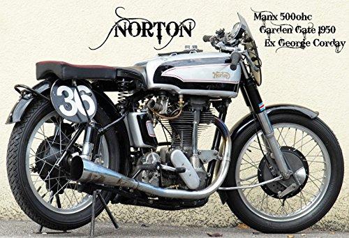 rbike motorcycle Manx 500ohc, Garden Gate 1950, george Corday schild aus blech, metal sign, tin (1950 Deko-ideen)