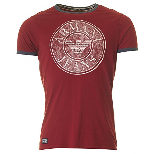 Armani Jeans Circle Eagle Print Short Sleeved T-shirt BORDEAUX MEDIUM (Eagle Jeans)