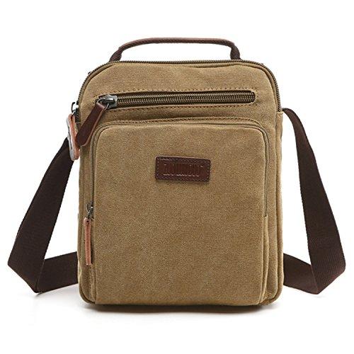 Outreo Kleine Umhängetasche Herren Schultertasche Vintage Herrentaschen Retro Messenger Bag Canvas Taschen für Sport Tablet Schule Kuriertasche Segeltuchtaschen Reisetasche Werkzeug Sporttasche (Beige One)
