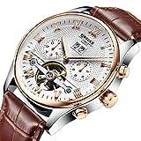 Smartwatches,KINYUED Vollautomatische Mechanische Uhr Mit Hohlem Schwungrad Brown Belt White Face
