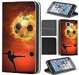 Samsung Galaxy S4 Mini Hülle von CoverHeld Premium Flipcover Schutzhülle Flip Case Motiv (1333 Fußball Fussball Schwarz Braun Spieler)