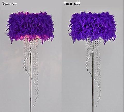 PIGE Plafonnier Lampadaire En Métal Crystal Tassel E27 LED Floor Light Classique Cadeau Décoratif Salon Salle De Mariage Chambre À Coucher Lit ( Couleur : Dark Purple )