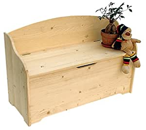 Baule - Cassapanca con spalliera in abete massello levigato cm. 100 x 40 x 65h