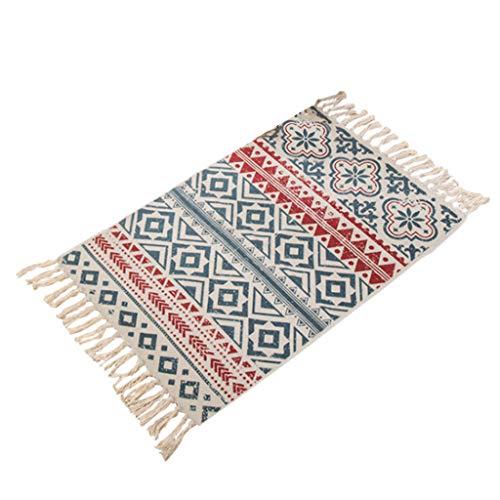 Bohemianischer Teppich, Baumwolle, Leinen, handgewebt, quadratisch, geometrisch, weich, mit Quasten, Wohnzimmer, Schlafzimmer, Dekoration, 60 x 90 cm a -