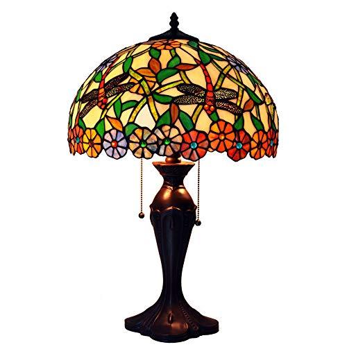 MTCTK 16 Zoll 2 Lichter Tiffany Stil Tischlampe Dragonfly und rotierende Blume Design Wohnzimmer Bett Beleuchtung Dekoration Kunst Schreibtisch Lampe -