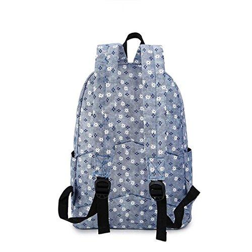 Medio Ragazze Della Scuola Di Spalla Del Sacchetto Di Tela Di Canapa Casuale Stampa Bag Blue