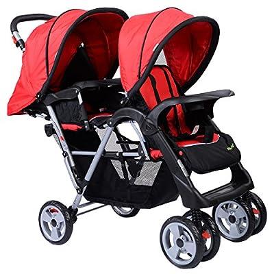 Silla de paseo para doble niños cochecito de Bebé Plegable pequeña Ruedas giratorias