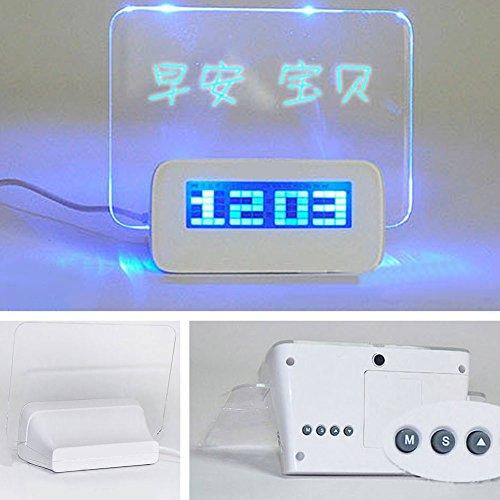 springdoit LED Leuchtender Wecker für Zuhause Leuchtstoff Memo Message Board Digital Wecker Nachts...