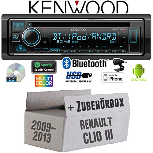Renault Clio 3 FL - Autoradio Radio Kenwood KDC-BT530U - Bluetooth | Spotify | iPhone | Android | CD/MP3/USB - Einbauzubehör - Einbauset