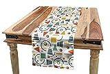 ABAKUHAUS Retro Tischläufer, 80er Jahre 90er Jahre Stil Geometrisch, Esszimmer Küche Rechteckiger Dekorativer Tischläufer, 40 x 300 cm, Mehrfarbig
