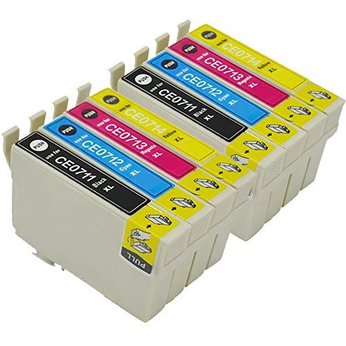 Teng® Tintenpatronen für Epson SX110 SX400 SX600FW SX205 SX410 S21, Office BX300F BX610FW B40W, DX4400 DX8400 DX7450 DX5000 - Yield-cyan-tinte