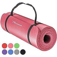 REEHUT Colchoneta de Yoga de NBR de Alta Densidad y Extra Gruesa de 12mm Diseñada para Pilates, Fitness y Entrenamiento/Correa Portátil(Rosa)