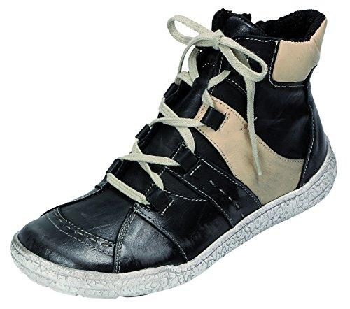 Miccos Shoes Damen Stiefel/Stiefelette Nappaleder/Komb. RV, Fleecefutter, PU-Sohle in anthrazit, Gr