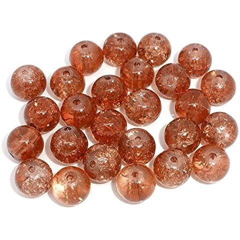 100 x colore: arancione e perle rotonde in vetro cracklé color ambra, 8 mm,-L05633