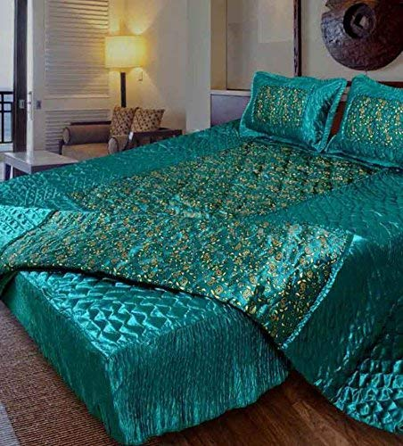 Namaste IndiaSatin Double Bed Bedding Wedding Set (Set of 4 pcs) 1 Double Bed Bedsheet:: 2 Pillow Cover:: 1 Double Bed AC Comforter