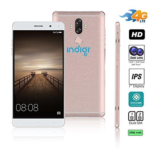 Indigi® entsperrt 4G LTE 6Android 7.0nougat Octa-Core 1,3GHz Smartphone (Fingerabdruck Scan + Dual Sim Slots + Bluetooth 4.0+ 13MP Kamera) (Rose Gold) Entsperrt Handys Tracfone