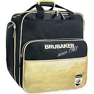 Brubaker Super St. Moritz Skischuhtasche Helmtasche Rucksack-Tragesystem mit Schuhfach – Schwarz Gold