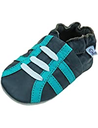 Lappa.de - Zapatillas de piel para niños (suela de ante, tallas de la 19 a la 33), diseño deportivo, color turquesa
